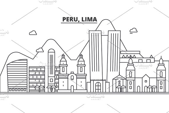 Peru Lima Architecture Line Skyline Illustration Linear Vector Cityscape With Famous Landmarks City Sights Design Icons Landscape Wtih Editable Strokes