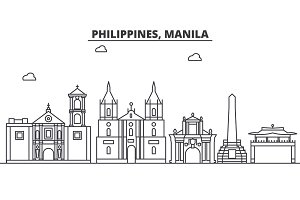 Philippines, Manila architecture line skyline illustration. Linear vector cityscape with famous landmarks, city sights, design icons. Landscape wtih editable strokes