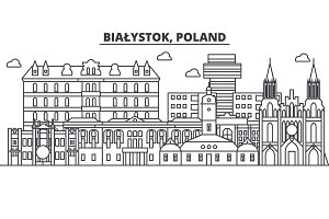 Poland, Bialystok architecture line skyline illustration. Linear vector cityscape with famous landmarks, city sights, design icons. Landscape wtih editable strokes
