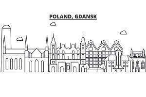 Poland, Gdansk architecture line skyline illustration. Linear vector cityscape with famous landmarks, city sights, design icons. Landscape wtih editable strokes