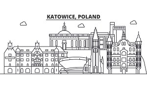 Poland, Katowice architecture line skyline illustration. Linear vector cityscape with famous landmarks, city sights, design icons. Landscape wtih editable strokes