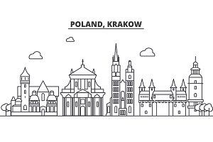 Poland, Krakow architecture line skyline illustration. Linear vector cityscape with famous landmarks, city sights, design icons. Landscape wtih editable strokes