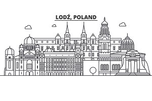 Poland, Lodz architecture line skyline illustration. Linear vector cityscape with famous landmarks, city sights, design icons. Landscape wtih editable strokes