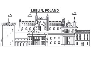 Poland, Lublin architecture line skyline illustration. Linear vector cityscape with famous landmarks, city sights, design icons. Landscape wtih editable strokes