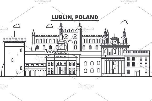 Poland Lublin Architecture Line Skyline Illustration Linear Vector Cityscape With Famous Landmarks City Sights Design Icons Landscape Wtih Editable Strokes
