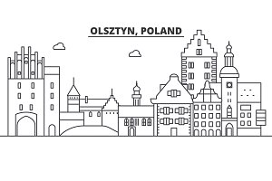 Poland, Olsztyn architecture line skyline illustration. Linear vector cityscape with famous landmarks, city sights, design icons. Landscape wtih editable strokes