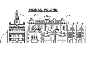 Poland, Poznan architecture line skyline illustration. Linear vector cityscape with famous landmarks, city sights, design icons. Landscape wtih editable strokes