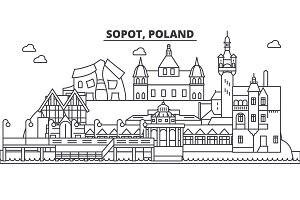 Poland, Sopot architecture line skyline illustration. Linear vector cityscape with famous landmarks, city sights, design icons. Landscape wtih editable strokes