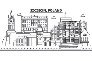 Poland, Szczecin architecture line skyline illustration. Linear vector cityscape with famous landmarks, city sights, design icons. Landscape wtih editable strokes