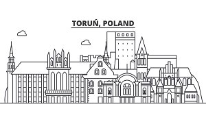 Poland, Torun architecture line skyline illustration. Linear vector cityscape with famous landmarks, city sights, design icons. Landscape wtih editable strokes