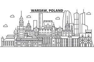 Poland, Warsaw architecture line skyline illustration. Linear vector cityscape with famous landmarks, city sights, design icons. Landscape wtih editable strokes