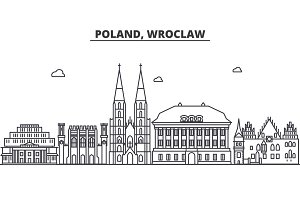 Poland, Wroclaw architecture line skyline illustration. Linear vector cityscape with famous landmarks, city sights, design icons. Landscape wtih editable strokes