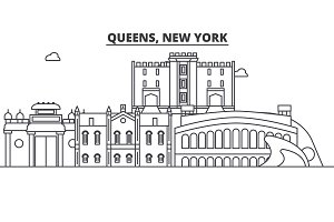 Queens, New York architecture line skyline illustration. Linear vector cityscape with famous landmarks, city sights, design icons. Landscape wtih editable strokes