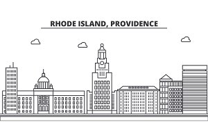 Rhode Island, Providence architecture line skyline illustration. Linear vector cityscape with famous landmarks, city sights, design icons. Landscape wtih editable strokes