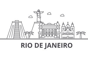 Rio De Janeiro architecture line skyline illustration. Linear vector cityscape with famous landmarks, city sights, design icons. Landscape wtih editable strokes