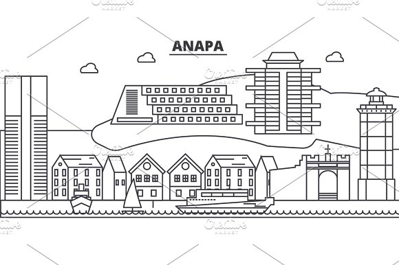 Russia Anapa Architecture Line Skyline Illustration Linear Vector Cityscape With Famous Landmarks City Sights Design Icons Landscape Wtih Editable Strokes