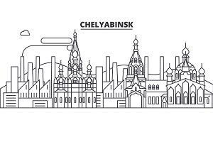 Russia, Chelyabinsk architecture line skyline illustration. Linear vector cityscape with famous landmarks, city sights, design icons. Landscape wtih editable strokes