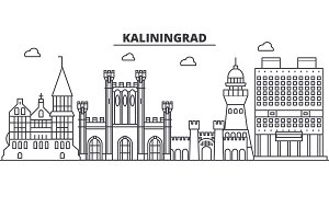 Russia, Kaliningrad architecture line skyline illustration. Linear vector cityscape with famous landmarks, city sights, design icons. Landscape wtih editable strokes