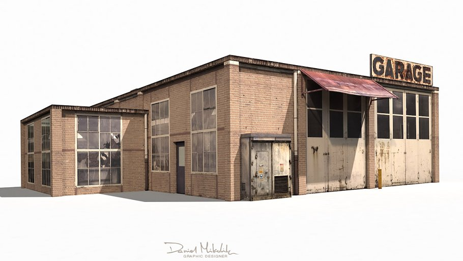 Garage Building 188 Low Poly