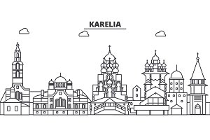 Russia, Karelia architecture line skyline illustration. Linear vector cityscape with famous landmarks, city sights, design icons. Landscape wtih editable strokes
