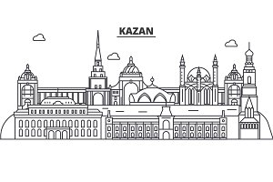 Russia, Kazan architecture line skyline illustration. Linear vector cityscape with famous landmarks, city sights, design icons. Landscape wtih editable strokes