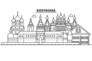 Russia, Kostroma architecture line skyline illustration. Linear vector cityscape with famous landmarks, city sights, design icons. Landscape wtih editable strokes