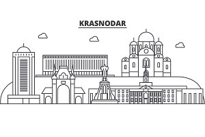 Russia, Kransodar architecture line skyline illustration. Linear vector cityscape with famous landmarks, city sights, design icons. Landscape wtih editable strokes