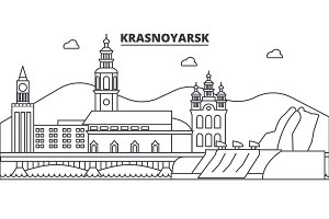 Russia, Krasnoyarsk architecture line skyline illustration. Linear vector cityscape with famous landmarks, city sights, design icons. Landscape wtih editable strokes