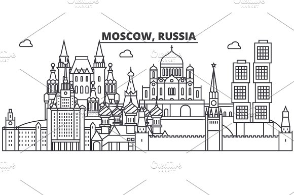 Russia Moscow Architecture Line Skyline Illustration Linear Vector Cityscape With Famous Landmarks City Sights Design Icons Landscape Wtih Editable Strokes