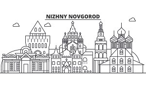 Russia, Nizhny Novgorod architecture line skyline illustration. Linear vector cityscape with famous landmarks, city sights, design icons. Landscape wtih editable strokes