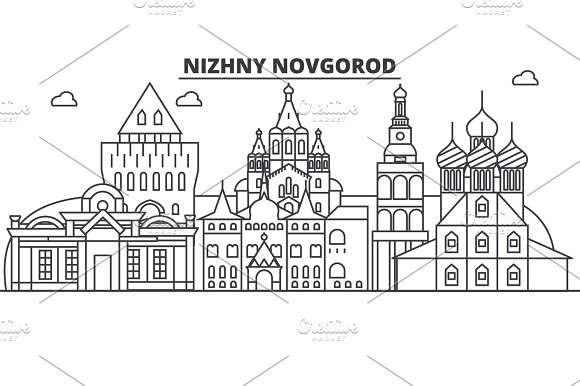 Russia Nizhny Novgorod Architecture Line Skyline Illustration Linear Vector Cityscape With Famous Landmarks City Sights Design Icons Landscape Wtih Editable Strokes