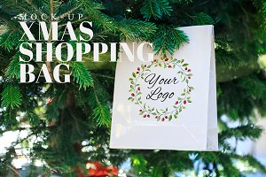Christmas Shopping Bag Mockup