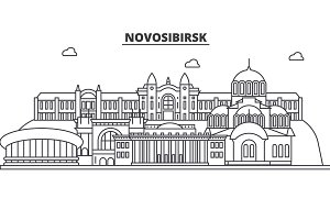 Russia, Novosibirsk architecture line skyline illustration. Linear vector cityscape with famous landmarks, city sights, design icons. Landscape wtih editable strokes