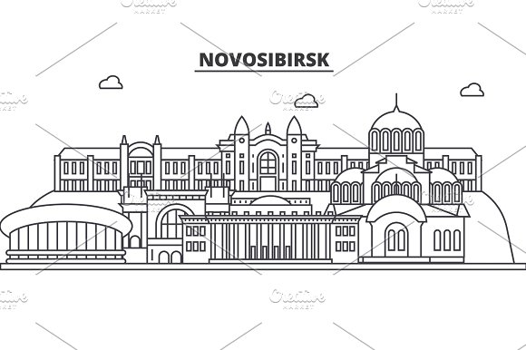 Russia Novosibirsk Architecture Line Skyline Illustration Linear Vector Cityscape With Famous Landmarks City Sights Design Icons Landscape Wtih Editable Strokes
