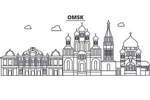 Russia, Omsk architecture line skyline illustration. Linear vector cityscape with famous landmarks, city sights, design icons. Landscape wtih editable strokes