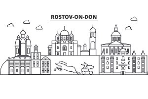 Russia, Rostov On Don architecture line skyline illustration. Linear vector cityscape with famous landmarks, city sights, design icons. Landscape wtih editable strokes