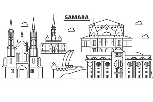 Russia, Samara architecture line skyline illustration. Linear vector cityscape with famous landmarks, city sights, design icons. Landscape wtih editable strokes