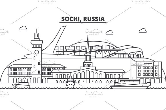 Russia Sochi Architecture Line Skyline Illustration Linear Vector Cityscape With Famous Landmarks City Sights Design Icons Landscape Wtih Editable Strokes