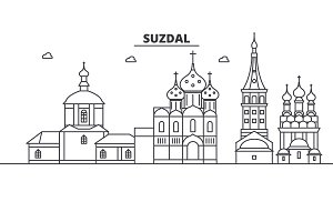 Russia, Suzdal architecture line skyline illustration. Linear vector cityscape with famous landmarks, city sights, design icons. Landscape wtih editable strokes
