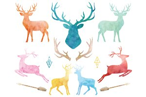 Watercolor Reindeer Collections
