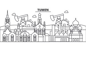Russia, Tumen architecture line skyline illustration. Linear vector cityscape with famous landmarks, city sights, design icons. Landscape wtih editable strokes