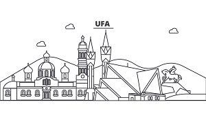 Russia, Ufa architecture line skyline illustration. Linear vector cityscape with famous landmarks, city sights, design icons. Landscape wtih editable strokes