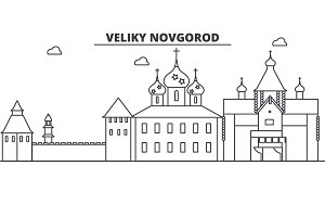 Russia, Veliki Novgorod architecture line skyline illustration. Linear vector cityscape with famous landmarks, city sights, design icons. Landscape wtih editable strokes