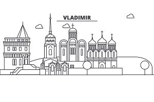 Russia, Vladimir architecture line skyline illustration. Linear vector cityscape with famous landmarks, city sights, design icons. Landscape wtih editable strokes