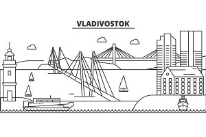Russia, Vladivostok architecture line skyline illustration. Linear vector cityscape with famous landmarks, city sights, design icons. Landscape wtih editable strokes