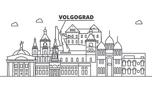 Russia, Volgograd architecture line skyline illustration. Linear vector cityscape with famous landmarks, city sights, design icons. Landscape wtih editable strokes