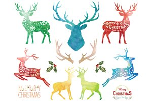 Watercolor Christmas Reindeer Set