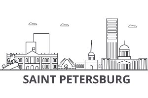 Sankt Petersburg architecture line skyline illustration. Linear vector cityscape with famous landmarks, city sights, design icons. Landscape wtih editable strokes