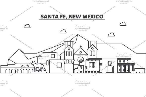 Santa Fe New Mexico Architecture Line Skyline Illustration Linear Vector Cityscape With Famous Landmarks City Sights Design Icons Landscape Wtih Editable Strokes