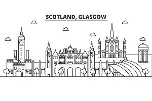 Scotland, Glasgow architecture line skyline illustration. Linear vector cityscape with famous landmarks, city sights, design icons. Landscape wtih editable strokes